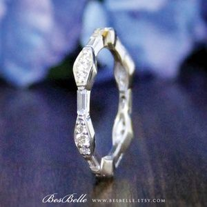Art Deco stackable eternity band by BesBelle